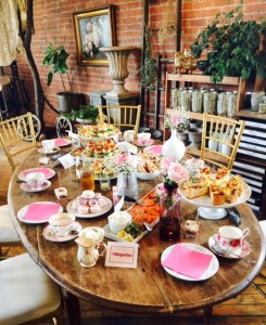 Beautifully decorated table, and luscious treats, at this Blistex-hosted tea.