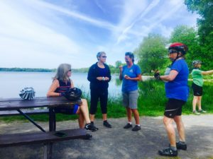 Taking a snack break at Lake on the Mountain. (Left to right: Bonnie, Maureen, Merryn, Jenny, Heather)